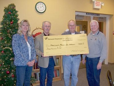 Courtesy photo<br>From left, Pam Hanno, director, Prescott Meals on Wheels; Bob Painter, Board President, PMOW; and Milo Nielson and Don Jepsen of the Mingus Mountain Chapter of Thrivent Financial for Lutherans.