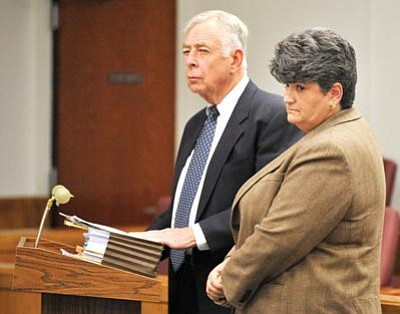 Les Stukenberg/The Daily Courier, file photo<br /><br /><!-- 1upcrlf2 -->Former Prescott-area developer and state Senate candidate Elise Townsend and her attorney, Albert Freeman, were in Judge Thomas Lindberg's courtroom in January.