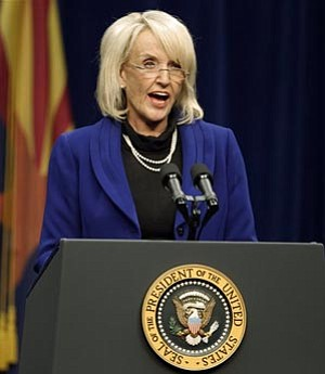 Chris Carlson /The Associated Press<br> Gov. Jan Brewer revealed plans Friday for dealing with a $763 million budget shortfall in the current fiscal year.