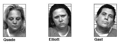 Susan Quade, 48, of Cornville, Tana Elliott, 31, of Glendale, and Craig Gast, 49, of Phoenix, were arrested Sunday on charges including possession of drug paraphernalia after they found methamphetamine, meth pipes and an improvised explosive device inside a home and a blue Chevy Blazer.