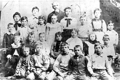 Sharlot Hall Museum/Courtesy photo<br>An undated photo of students at the Walnut Creek School. It is known the school had 26 students in 1879. The schoolmaster was S. Charmingdale Rogers.
