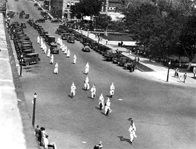 Sharlot Hall Museum/Courtesy photo<br>In May of 1926, the Klan's funeral procession for Joseph Drew attracted substantial public attention. It was Prescott's first Klan funeral. Shown here on Gurley Street in front of the courthouse, the procession began at the Ruffner Funeral Chapel downtown, ending at the Mountain View Cemetery on Miller Valley Road.