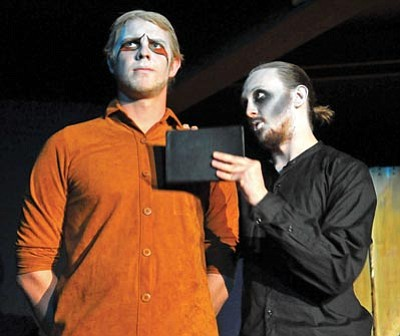 Matt Hinshaw/The  Daily Courier<br> Hamlet, played by Jayk Boomer, right, and Polonius played by Christopher Galinski rehearse Wednesday night inside the Blue Rose Theatre at the Sharlot Hall Museum.