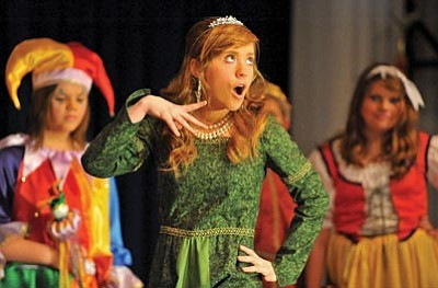 princess and the pea costume. Matt Hinshaw/The Daily Courier\u003cbr\u003e Emily Miner As Princess Winifred Acts Out Princess And The Pea Costume F