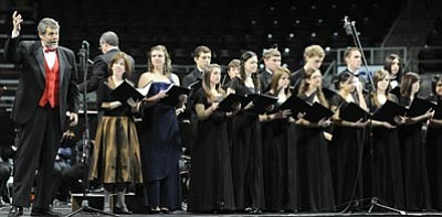 Les Stukenberg/The Daily Courier<BR> Members of the Chamber Choir at Bradshaw Mountain High School perform at the Music Memory concert March 1 at Tim's Toyota Center in Prescott Valley. The choir, led by Amy Van Winkle, has achieved two superior ratings for its performances since this past fall.