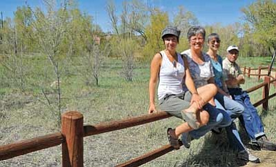 Matt Hinshaw/The Daily Courier<br>Prescott Community Gardens board members, from left, Hannah Trujillo, Joyce Koressel, Colleen Sorensen, and Rey Cage sit in front a plot of land that they will be turning into a community garden near Granite Creek Park.