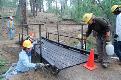 Joanna Dodder/The Daily Courier, file photo<br> Youth Conservation Corps members helped repair a footbridge on a trail next to Lynx Lake last year. The YCC will be able to continue working in Yavapai County this year with the help of a federal grant.