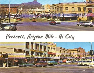 Sharlot Hall Museum/Courtesy<br> A late-1950s postcard shows some of the businesses in downtown Prescott.