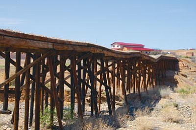 Cindy Barks/The Daily Courier<br>A new section of Prescott's Peavine Trail takes hikers, cyclists and horseback riders to the southern end of the old railroad trestle over Granite Creek. The one-mile section of trail begins at a new parking lot off the Granite Dells Parkway interchange, and continues north under Highway 89A.