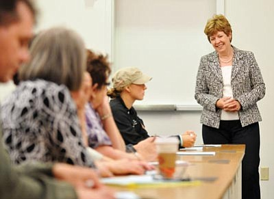 "Courtesy photo<br> During an open forum Monday afternoon, Penny Wills, right, said ""community colleges make a difference every day. I can feel the pulse here, the contact Yavapai College has with the community."""