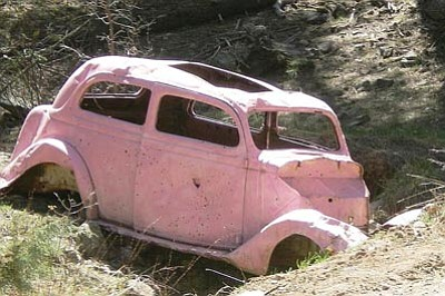 YCSO/Courtesy<br> The Pink Car, a Walker landmark, was apparently taken by students and vandalized. Authorities are still investigating.