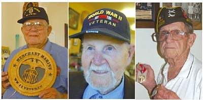 From left, local veterans Ralph Osborn, Lewis Taylor and Nova Frasher reflect on their experiences 67 years ago.