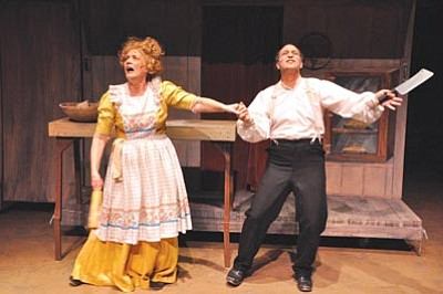 """Courtesy photo<br> Linda Miller and Dino Palazzi star in """"Sweeney Todd: The Demon Barber of Fleet Street,"""" a passionate tale of one man's hunger for revenge in the loss of his wife and daughter to a crooked judge. The play opens tonight on the PFAA main stage."""