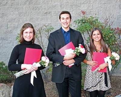 Courtesy photo<br /><br /><!-- 1upcrlf2 -->Katherine Meyers, James Grandjean and Caia Decker were presented with Yavapai Symphony Association scholarships before a Phoenix Symphony concert at the Yavapai College Performance Hall in May.