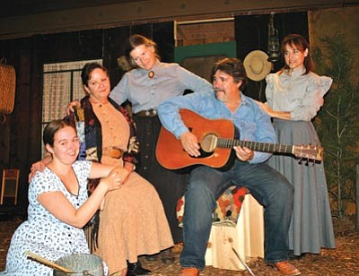 """Sharlot Hall Museum/Courtesy photo<br> Katrina Martin, Cheryl Hanks, Pattie Conrad, Tom Agostino and Kathy Derry appear  in """"Ladies of the Garden: New Beginnings,"""" a play about family struggles during the drought of the 1920s that opens at Sharlot Hall Museum's Blue Rose Theater Friday."""