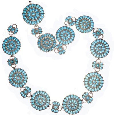 Courtesy photos<br> The spiderweb turquoise in this concho belt is called No. 8 after a mine in the Southwest. This Zuni-made piece of jewelry is among a large cache that will go on the auction block Friday at the Smoki Museum's Summer Rug and Indian Art Auction.