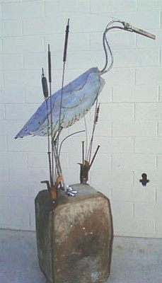 "Courtesy photo<br /><br /><!-- 1upcrlf2 -->""Harry the Heron"" by Lisa Morgan is one of the upcycled art pieces that <br /><br /><!-- 1upcrlf2 -->will be auctioned at Prescott Creeks' ""One Man's Treasure"" event, 4 to 7 p.m. Sunday, Sept. 18, at the historic Granite Dells Resort."