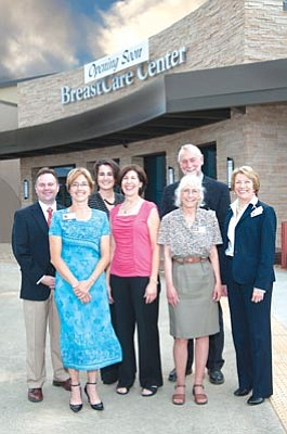 Courtesy photo<br>Susan G. Komen Phoenix Affiliate and Yavapai Regional Medical Center (YRMC) leaders met recently to tour The BreastCare Center at YRMC, which will open in October. Joining the tour were (left to right): Peter Brennan, director of philanthropy, YRMC; Nancy K. Ledoyen, RN, BSN, OCN, clinical navigator, The BreastCare Center at YRMC; Beverly Kruse, executive director, Susan G. Komen Phoenix Affiliate; Mary Dokes, mission manager, Susan G. Komen Phoenix Affiliate; Tim Barnett, president and CEO, YRMC; Ann Reynolds, grant writer, YRMC; and Robbie Nicol, executive director, community outreach and philanthropy, YRMC.
