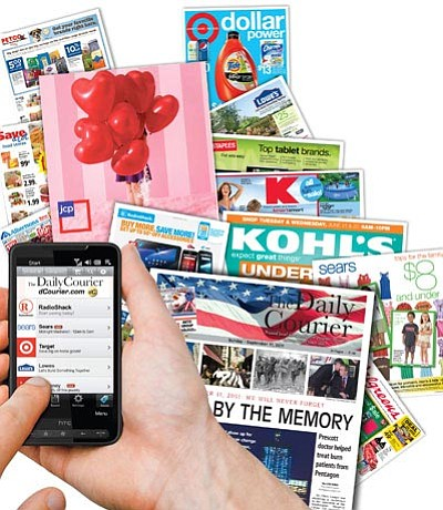 """Courier illustration<br>Clicking on the """"Today's Savings"""" link on the Courier's mobile site, dCourier.com, allows users to browse retailers' store ads and view savings deals in their area."""