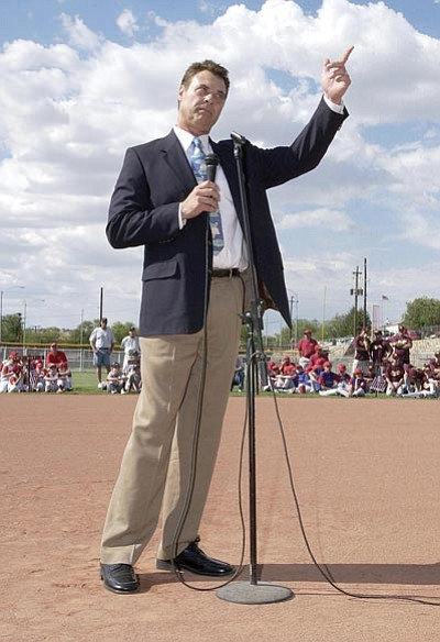 File Photos/The Daily Courier<br /><br /><!-- 1upcrlf2 -->Former Major League pitcher and Prescott native John Denny speaks before throwing out the first pitch during the 2007 District 10 Little League Tournament in Prescott. Denny played multiple sports for Prescott High School and went on to win the 1983 Cy Young Award with the Philadelphia Phillies.