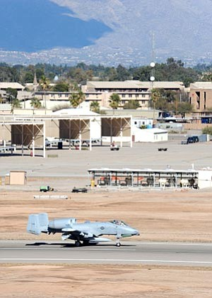 U.S. Air Force/The Associated Press<br> This undated photo provided by the U.S. Air Force shows Davis-Monthan Air Force Base near Tucson. The base was on lockdown Friday afternoon amid unconfirmed reports of gunfire.