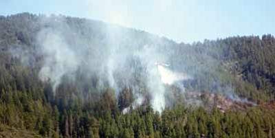 Joe Klecak/Courtesy photo<br>Smoke rises from the Lookout Mountain fire seen from forest trail 667.
