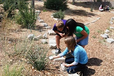 Courtesy HCNH<br>Granville Elementary School fifth-graders work on their habitat garden.