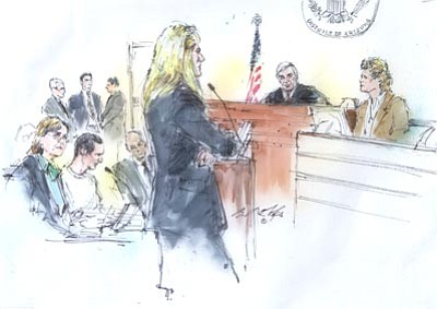 The Associated Press<br> In this courtroom sketch, from left, attorney Judy Clark sits with her client, Jared Lee Loughner, as U.S. District Judge Larry Burns listens from the bench to testimony from Dr. Christina PIetz, far right, in federal court Wednesday in Tucson.