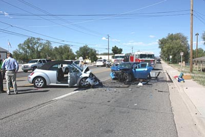 Chino Valley Police Department/Courtesy photo<br> Two women injured in this head-on collision in Chino Valley north of the high school were flown to Flagstaff Medical Center for treatment Thursday.