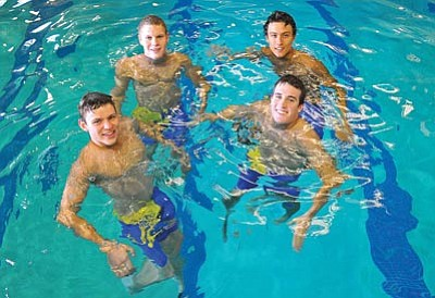 Matt Hinshaw/The Daily Courier<br /><br /><!-- 1upcrlf2 -->From left Mason Burchfield, Grant Temple, Charles Miller, and Daniel Schleicher make up the Prescott High School's 200m Individual Medley Relay Team.