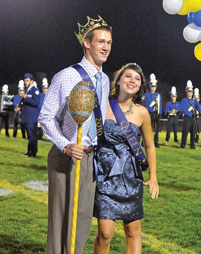 Matt Hinshaw/The Daily Courier<br> 2010 Prescott High School Homecoming King and Queen Luke Huffaker and Katie Boggs pose shortly after being crowned.
