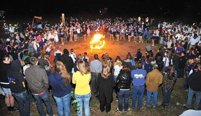 Les Stukenberg/The Daily Courier<br>Prescott High School held its annual Homecoming parade through downtown Prescott, followed by a bonfire and pep rally at Mile High Middle School Wednesday night.