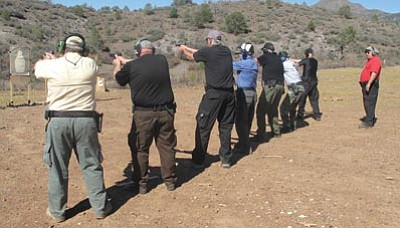 Courtesy photo<br> The Prescott Valley Detachment of the Verde Valley Company of the Arizona Rangers displays  marksmanship skills during a training and qualification shoot Oct. 16 at Mingus Meadows. The detachment is recruiting members.