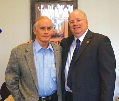 Courtesy Paul Boyer/Arizona House of Representatives<br> Arizona House Speaker Andy Tobin of Prescott, right, congratulates Sen. Steve Pierce of Prescott Thursday shortly after Pierce was named Arizona Senate president.