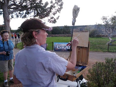 Artist Linda Glover Gooch doing a demo on Sept. 9. Submitted Photo