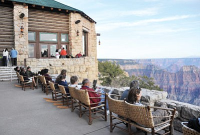 Grand Canyon Lodge on the North Rim of Grand Canyon is often the first prominent feature that visitors see, even before viewing the Canyon. The highway ends at the lodge. Reservations for the Lodge, operated by Forever Resorts, will be accepted through the night of Oct.15. Photo/Mike Quinn