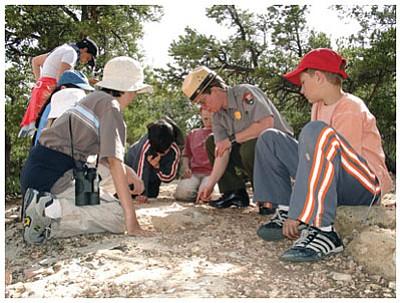 Kids take part in the NPS Junior Paleontologist program. Photo/NPS