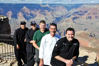 Pictured above, Grand Canyon Dinner Theatre Chef Brandon Bettencourt, Grand Canyon Brewery Owner John Peasley, Grand Hotel Chef John Fitzgerald and El Tovar Head Chef Matt McTigue. Not pictured is Grand Canyon Squire Inn Executive Chef Norm Fuerfanger. Bill Brookins/Photo