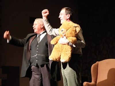 """Above: After presenting the Park Superintendent Dave Uberuaga with a """"teddy"""" bear, Wiegand leads the crowd in three cheers for the Grand Canyon. Below: Joe Wiegand takes the stage as Theodore Roosevelt Jan. 10 at the Shrine of the Ages.  Clara Beard/WGCN"""
