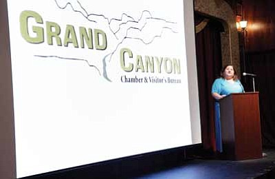 Top: Grand Canyon Chamber Executive Director Josie Bustillos reports  the chamber's goals for 2013 at their annual luncheon on Jan. 31. Below: Dave Uberuaga addresses local business owners. Ryan Williams/WGCN