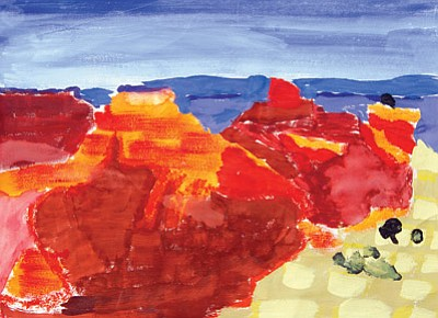 "Grand Canyon School third grade student Ceres T. won Best in Show for her piece titled ""Home,"" oil on paper, in this year's Art for Our Park juried exhibit at Grand Canyon. Photo/Michael Quinn"