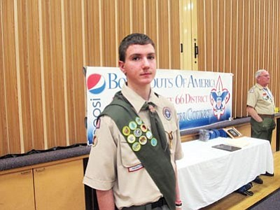Boy Scout Noah Yarnell waits to be awarded the Boy Scout Medal of Merit for his quick thinking on last year's Grand Canyon School river trip. Submitted Photo