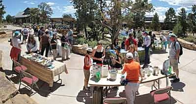Last year's Earth Day at the Grand Canyon South Rim was a bustling affair with plently of booths, activities and learning opportunities for all ages. Attendees can expect more this and more this year with a film viewing and author talk to enjoy. Photo/NPS