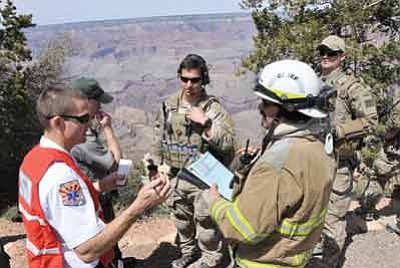 Emergency responders congregate at Yaki Point during Resolute Angel training exercise April 13. Submitted Photo