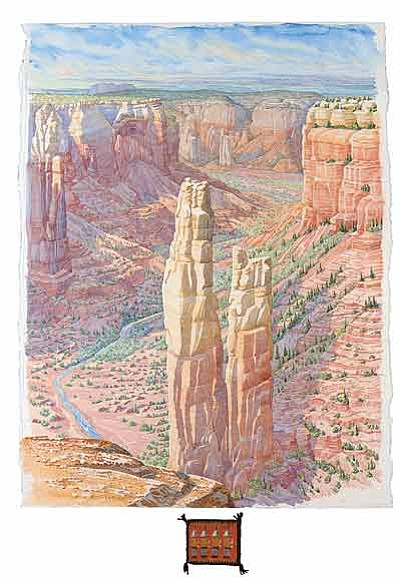 "Above: ""Spider Rock from Spider Rock Overlook,"" Tony Foster. Watercolor on paper, 36"" x 28"" Courtesy of private collector. Photo/Trevor Burrows Photography"