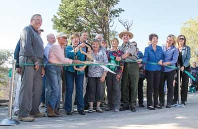 National Park Service and Grand Canyon Association staff joins major project donors for the ribbon cutting ceremony during the dedication of the renovated Bright Angel Trailhead. Erin Whittaker/NPS