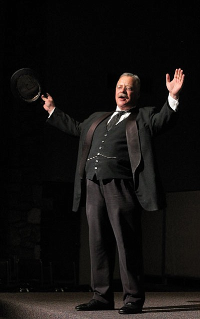 Joe Wiegand regales the crowd with stories of his experiences as Teddy Roosevelt at the Grand Canyon during his last performance in January. Clara Beard/WGCN