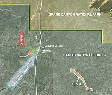 A map showing the three areas around Tusayan that Stilo plans to develop. Submitted graphic.