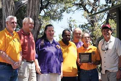 Above from left to right:  Bob Yarnell, Al Richmond, Ginny and William Donley, past Lions Club treasurer Keith Green, Louis Schmook and Wayne Ranney. Photo/Tom Martin.
