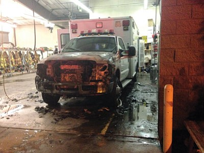 The Guardian ambulance that caught fire July 22 inside Tusayan Fire Department. Photo/John Vail.
